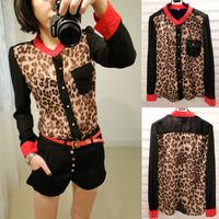 2014 Hot Sale Women Casual Chiffon Ventilate Shirts Leopard Printed Sheer Blouse Long Sleeve Shirt Top