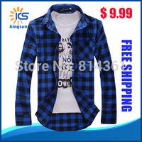 Free Shipping 2014 New Hot Sale Fashion Slim Long Sleeve Autumn Casual Men Plaid Shirt
