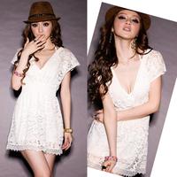 2014 Cute Sexy Women Lace Patchwork Dress Plunge V-Neck Elastic Empire Waist Short Sleeve Mini Party Dress White