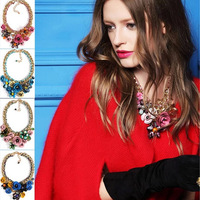 2014 New Punk Necklaces & Pendants Hot Sale Transparent Big Resin Crystal Flower Choker Statement Necklace Fashion Jewelry