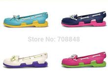El envío libre 2014 calzado de moda sandalias sandalias al por mayor de calzado cordones de los zapatos eva Mujeres Beach Boat Line 5 colores W5 - W9(China (Mainland))