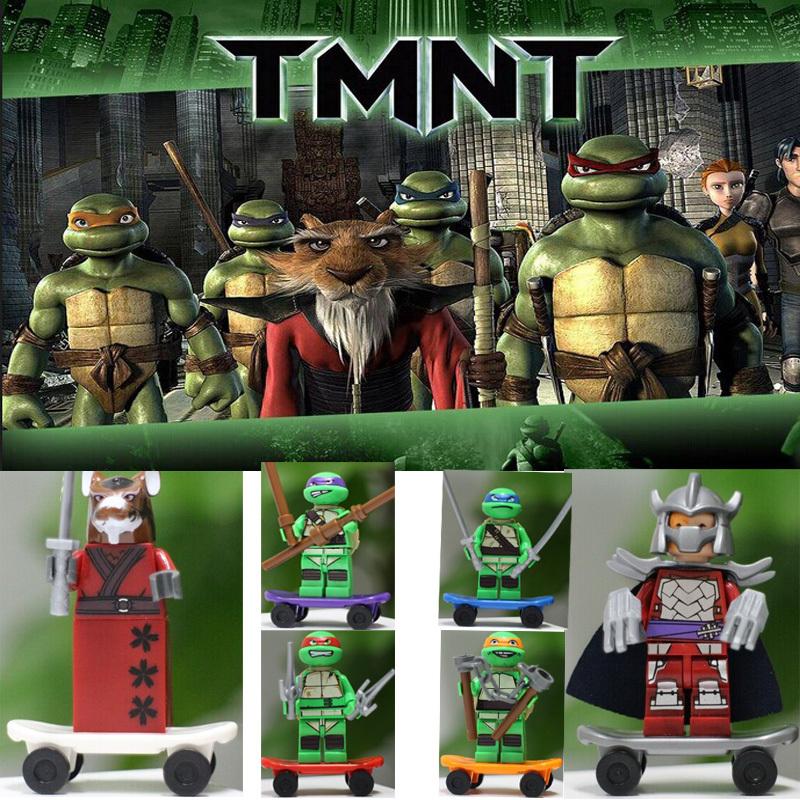 6pcs/lot spedizione gratuita mutante Ninjago tartarughe ninja azione& figure giocattolo omini blocchi iq esercizio di costruzione fai da te giocattoli figure