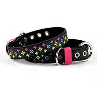 Customer Designer Black Brown Fashion PVC Nylon Leather Dog Pet Collar Leash Pet Product Lead Collar ePacket #PMG_817 1pcs/lot