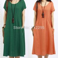Free Shipping XIA130 S M L XL XXL Summer Dress 2014 New Women Causal Dress Cotton Loose Fashion Chiffon Dress Long New Arrival