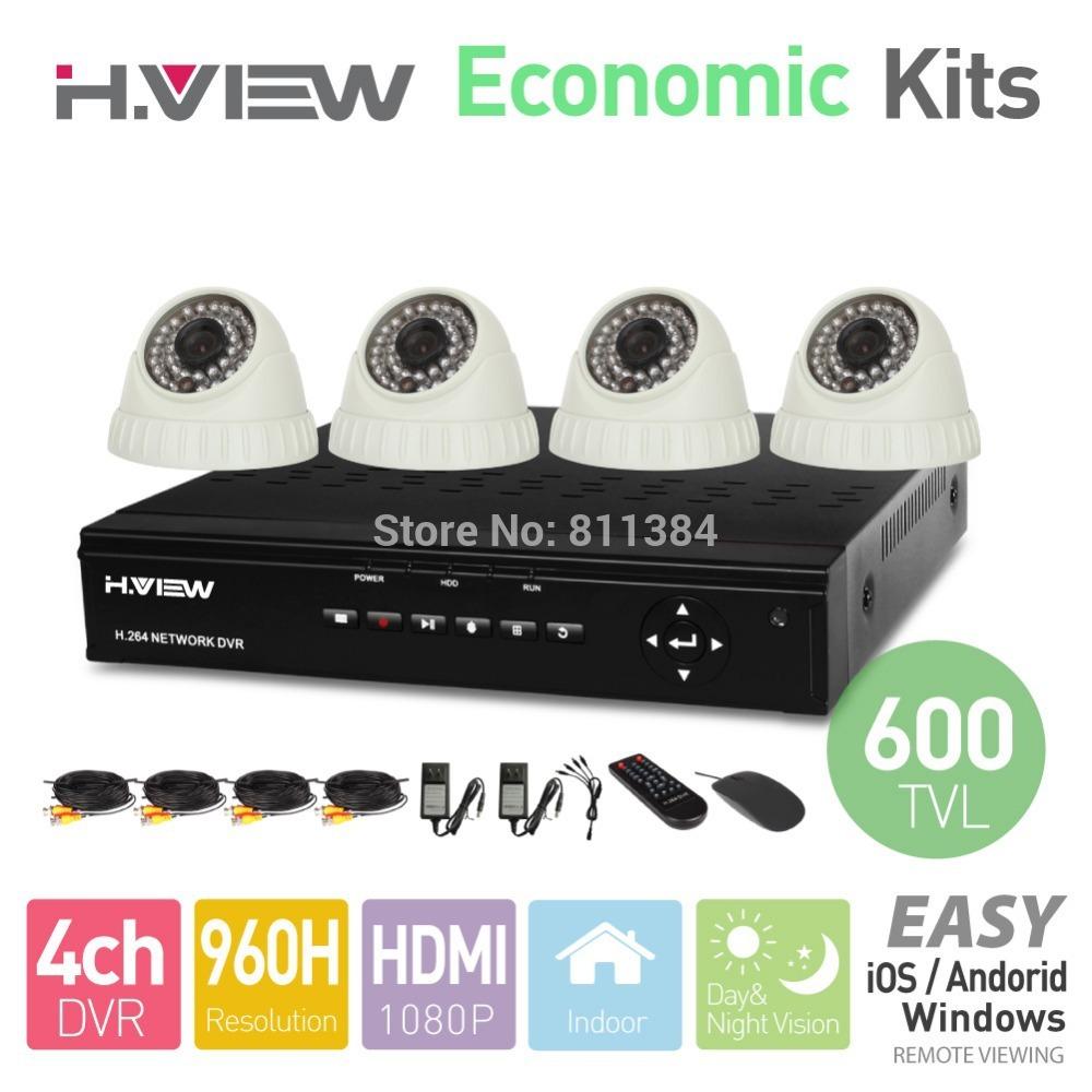 4ch 960h dvr hdmi 4 PC 600 linee tv ir indoor cctv telecamera dome 36 led sistema di sicurezza domestica kit di sorveglianza senza disco rigido