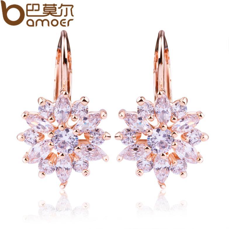 Bamoer Luxury Champagne Gold Flower Stud Earrings with Zircon Stone Women Birthday Gift Bijouterie JIE014(China (Mainland))