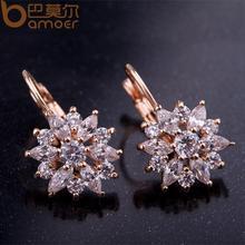 Bamoer Luxury Champagne Gold Flower Stud Earrings with Zircon Stone Women Birthday Gift Bijouterie JIE014