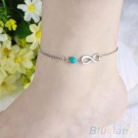 Women Bohemian Bead infinity Charm Chain Anklet Bracelet Beach Sandal Barefoot Jewelry Foot 043A