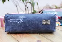 Blue England texture bag students stationery pen bag pencil case B35123-01