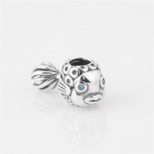 Fits Pandora Original Charms Bracelet 925 Sterling Silver Bead Screw Core Fish Pattern European Charm DIY