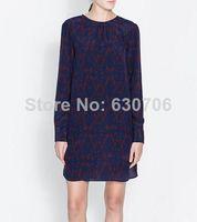 Woman Retro Irregular Geometry Pattern Crew Neck Long Sleeve Chiffon Dress Open Cut With Keyhole Dresses