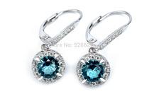 GNE0961 Hot selling Wholesale Free shipping 925 Sterling Silver CZ Earring 27.7*9.3mm Fashion Women Jewelry For women wedding