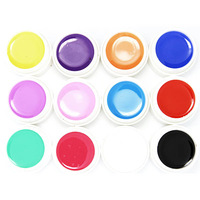 12 Pots Pure Color Decor UV Gel Nail Art Tips Shiny Cover Extension Manicure drop& free shipping