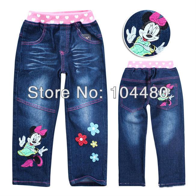 new fashion cartoon 2014 children pants cute princess costume girl denim pants autumn baby kids long jeans trousers(China (Mainland))