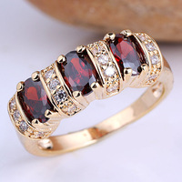 New Lady 3-stone Oval 14K Gold Filled Red Garnet 925 Sterling Silver Ring  Size 6 7 8 9 R091