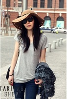 Tops 2014 New Fashion European Style Women's T Shirt Modal Loose Basic O- Neck Short Sleeve Trend T Shirt Blouse  WH158