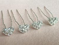 Free Shipping wholesale Hair Jewelry  heart  Bridal Crystal Hair Pins Pick Silver Plating   PVC Box Packing 200pcs/lot