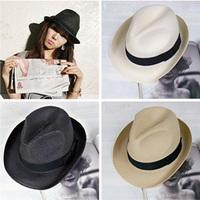 Fashion Womens Mens Unisex Fedora Trilby Gangster fedoras Cap Summer Beach Sun Straw Panama Hat