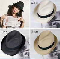 Popular Sun Hat Men Women Straw Hat Fashion Unisex Fedras Summer Beach Hat British Jazz hat 4 Color