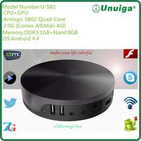 Smart TV Box Android 4.4 Kitkat Amlogic s802 AML8726-M8 Quad Core DDR3 2G 8G Rom 4K*2K HDMI Output XBMC Media Player