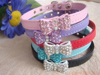 1 x Bling Dog Cat Puppy Bowknot Rhinestone Pets Gift Bow 5 Color Collar Free Shipping