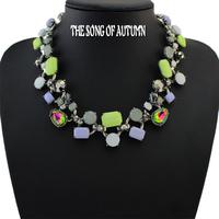 2014 Latest Fashion Women Brand Luxury Semi-precious Stones Jewelry Necklaces & Pendants Thick Collar Statement Necklace