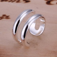 Min Order is $15,New 2014 Fashion High Grade 925 Silver Rings Wholesale Double Panel Silver Plated Ring Health Jewelry CR038
