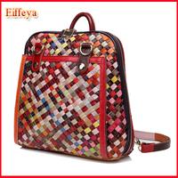 Woven New 2015 Patchwork Women's Fashion Backpacks Bookbag Schoolbag Travelling Bag Cow Leather Rucksack Mochila