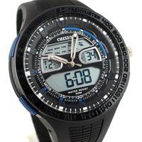 Free Shipping New OHSEN Mens Analog & Digital Day-Date Stopwatch Multifunction Blue Waterproof Sport Wrist Watch AD2803-3