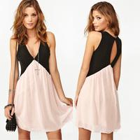 Hot Selling 2014 New Women Chiffon Patchwork Sexy Dress Deep V-Neck Block Slim Tank Sleeveless Mini Dress