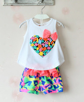 2014 love pink girl's fashion love pink vest suit with shorts 3~7age child tracksuits baby products free shipping