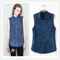 2014 New Fashion Women Casual Jean Denim Shirts Lady Brand Tank Sleeveless Vest Blouses Pocket Sky Navy Blue           #C0540