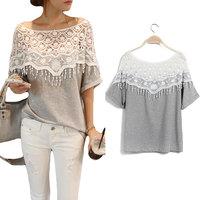 New Women Sweet 2014 Lace Medium-Long Shirt Hollow Out Handmade Crochet Cape Collar Batwing Sleeve Blouse