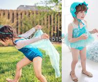 Retail New Summer Hot 2-10Y girls swimsuit korea frozen elsa fashion rompers with lace cloak Children's one pieces kids swimwear