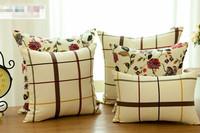 Free shipping Two Desings High-quality plaid flower sofa cushion cover O031