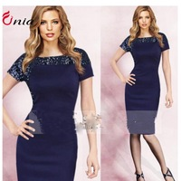 S-XXL new2014 summer Flash sequined plus size round collar short sleeve evening dress women fashion casual Bodycon Dress # 6627