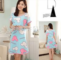 Women sleepwear cotton blend cute cartoon lingerie nightgown one piece nightgowns lounge womens nightdresses