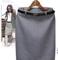Free Shipping 2014 New Cotton Slim Hip Plus Size XXL Bust Skirts Women Solid Fashion Straight Skirts Ladies