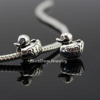 5Pcs/Lot Quality Beads 925 Silver 4MM Hole Handmade Duck Beads Fits DIY European Bracelet Necklace SeenDom Jewelry