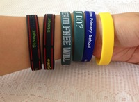 Free shipping 500pcs/lot wholesale custom logo print silicone sports bracelets / wristband for promotional gift or event