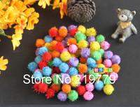 100pcs/pack 15mm Multicolor Glitter Pompoms pom-pom Kindergarden DIY handicraft Materials for Creativity Educational Toys Kids