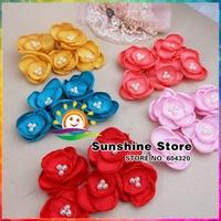 Sunshine store #8W0008 24pcs/lot (6 colors)  irregular Lotus flower Satin Pearl Dress Skirts Shose Hair Accessories Boutique