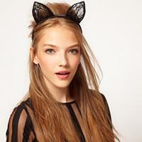 Free Shipping 12pcs/lot Wedding Photography Hair hoop Halloween Brithday Party Cosplay Ball Headwear Lace Cat Ear Headband A0022