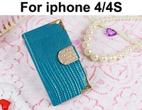 Luxury Rhinestone Girl Woman Bags Leather Wallet Case For iphone 4 4S Mobile phone Cases With Business Card Holder Drop Shipping
