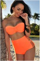 2014 Summer Women Modest Swimwear Swimsuit Bikini Push Up Women Bra Set Swimwears Print  Bikinis Set