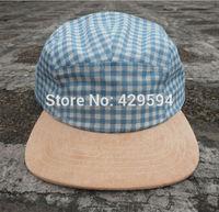 Custom plaid fabric crown suede brim 5 panel blank camp cap custom headwear baseball cap