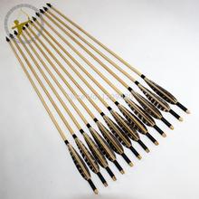 Tiro com arco caça caçador de madeira ao ar livre Shaft Arrows Handmade chinês penas de águia caça ponto dicas 12x para Long Bow(China (Mainland))