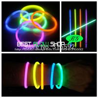 100pcs/lot High Quality 5 colors mixed 8inches(5*200mm) glow stick glow bracelet light up bracelet for party, dj, club