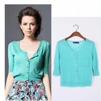 2014 Autumn women's O-neck pocket sweater cardigan short half sleeve thin sunscreen small cape Free shipping