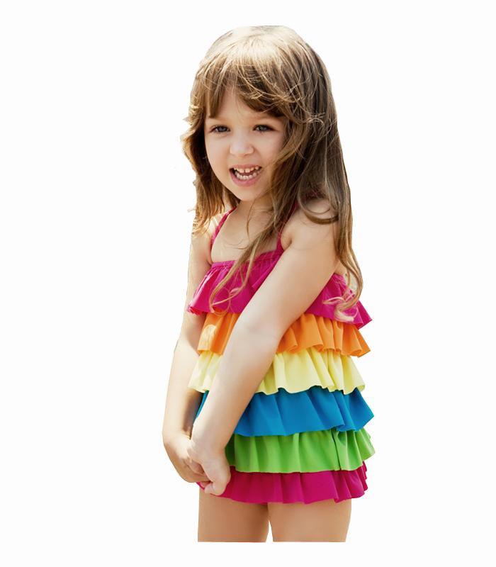 Children's swimwear baby girls rainbow skirt style swimsuit swimwear girls beach wear swimming wear Kids Bathing Suit(China (Mainland))